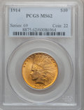 Indian Eagles: , 1914 $10 MS62 PCGS. PCGS Population (645/566). NGC Census:(676/471). Mintage: 151,050. Numismedia Wsl. Price for problem f...
