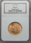 Indian Eagles: , 1915 $10 MS61 NGC. NGC Census: (1105/1972). PCGS Population(412/1851). Mintage: 351,075. Numismedia Wsl. Price for problem...