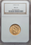 Liberty Half Eagles: , 1906-D $5 MS63 NGC. NGC Census: (595/395). PCGS Population(551/314). Mintage: 320,000. Numismedia Wsl. Price for problem f...