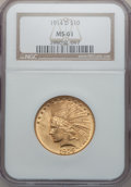 Indian Eagles: , 1914-D $10 MS61 NGC. NGC Census: (718/1099). PCGS Population(285/1285). Mintage: 343,500. Numismedia Wsl. Price for proble...