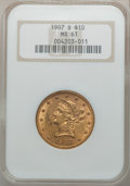 Liberty Eagles: , 1907-S $10 MS61 NGC. NGC Census: (88/74). PCGS Population(108/357). Mintage: 1,030,000. Numismedia Wsl. Price for problem...