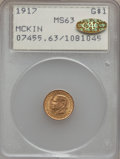 Commemorative Gold, 1917 G$1 McKinley MS63 PCGS. Gold CAC. PCGS Population (480/1798).NGC Census: (226/939). Mintage: 10,000. Numismedia Wsl. ...