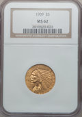 Indian Half Eagles: , 1909 $5 MS62 NGC. NGC Census: (2139/1210). PCGS Population(1439/1261). Mintage: 627,138. Numismedia Wsl. Price for problem...