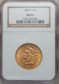 Liberty Eagles: , 1884-S $10 MS61 NGC. NGC Census: (158/70). PCGS Population(92/104). Mintage: 124,250. Numismedia Wsl. Price for problem fr...