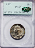 Proof Washington Quarters, 1937 25C PR65 PCGS. Gold CAC. PCGS Population (488/425). NGCCensus: (271/360). Mintage: 5,542. Numismedia Wsl. Price for p...