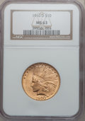 Indian Eagles: , 1910-D $10 MS63 NGC. NGC Census: (1889/1069). PCGS Population(2102/748). Mintage: 2,356,640. Numismedia Wsl. Price for pro...