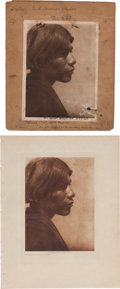 "Photography:Official Photos, Edward S. Curtis, Photographer: Original Photogravure PlateEnvelope with Final Proof Print and Finished Vellum Photogravure""... (Total: 2 Items)"