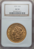 Liberty Double Eagles: , 1874 $20 AU58 NGC. NGC Census: (419/262). PCGS Population(101/198). Mintage: 366,800. Numismedia Wsl. Price for problemfr...