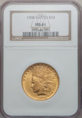 Indian Eagles: , 1908 $10 Motto MS61 NGC. NGC Census: (1115/2098). PCGS Population(457/2350). Mintage: 341,300. Numismedia Wsl. Price for p...