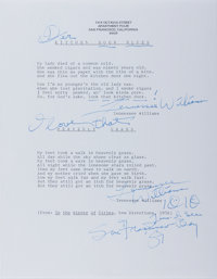 """Tennessee Williams. Two Typed Poems Twice Signed """"Tennessee Williams"""". San Francisco, circa 1981, William"""