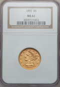 Liberty Half Eagles: , 1892 $5 MS61 NGC. NGC Census: (592/1007). PCGS Population(152/471). Mintage: 753,400. Numismedia Wsl. Price for problemfr...