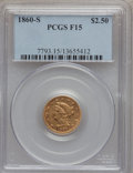 Liberty Quarter Eagles: , 1860-S $2 1/2 Fine 15 PCGS. PCGS Population (2/78). NGC Census:(3/104). Mintage: 35,600. Numismedia Wsl. Price for problem...