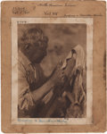 """Photography:Official Photos, Edward S. Curtis, Photographer: Original Photogravure PlateEnvelope """"Scraping a Deerskin - Washo"""" from The NorthAmeric..."""