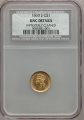 Gold Dollars: , 1860-S G$1 -- Improperly Cleaned -- NCS. Unc Details. NGC Census:(1/36). PCGS Population (0/27). Mintage: 13,000. Numismed...