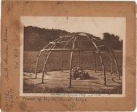 "Edward S. Curtis, Photographer: Original Photogravure Plate Envelope ""Frame of Peyote Sweat-Lodge"" from The No..."