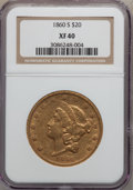 Liberty Double Eagles: , 1860-S $20 XF40 NGC. NGC Census: (45/571). PCGS Population(79/304). Mintage: 544,950. Numismedia Wsl. Price for problem fr...