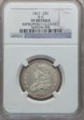 Bust Quarters: , 1821 25C -- Improperly Cleaned -- NGC Details. VF. B-5. NGC Census: (5/172). PCGS Population (22/179). Mintage: 216,851. N...