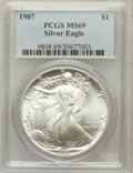 Modern Bullion Coins: , 1987 $1 Silver Eagle MS69 PCGS. PCGS Population (5975/10). NGCCensus: (83558/282). Mintage: 11,442,335. Numismedia Wsl. Pr...