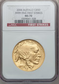 Modern Bullion Coins, 2006 $50 One-Ounce Gold Buffalo, First Strikes MS70 NGC. .9999Fine. NGC Census: (43509). PCGS Population (3304). ...