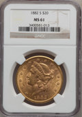 Liberty Double Eagles: , 1882-S $20 MS61 NGC. NGC Census: (396/177). PCGS Population(315/355). Mintage: 1,125,000. Numismedia Wsl. Price for proble...