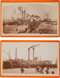 Transportation:Nautical, Albumen Boudoir Cards: Two Southern Steamers Delivering CottonBales.... (Total: 2 Items)