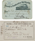 Western Expansion:Goldrush, Western Rail Passes: Arizona & Southeastern Rail Road Co. 1898and Columbia & Puget Sound 1888... (Total: 2 Items)