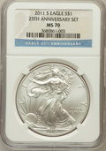 Modern Bullion Coins, 2011-S $1 Silver Eagle, 25th Anniversary Set MS70 NGC. NGC Census:(1988). PCGS Population (662). Numismedia Wsl. Price fo...