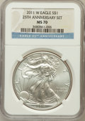 Modern Bullion Coins, 2011-W $1 1oz Silver Eagle, 25th Anniversary Set MS70 NGC. NGCCensus: (8568). PCGS Population (608). Numismedia Wsl. Pric...