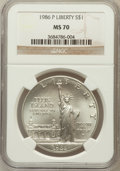 Modern Issues: , 1986-P $1 Statue of Liberty Silver Dollar MS70 NGC. NGC Census:(194). PCGS Population (149). Mintage: 723,635. Numismedia ...