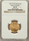 Modern Issues: , 1995-W G$5 Olympic/Torch Runner Gold Five Dollar MS70 NGC. NGCCensus: (672). PCGS Population (203). Numismedia Wsl. Price...