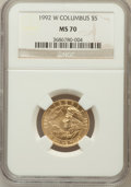 Modern Issues: , 1992-W G$5 Columbus Gold Five Dollar MS70 NGC. NGC Census: (829).PCGS Population (286). Mintage: 24,329. Numismedia Wsl. P...