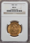 Liberty Eagles: , 1882 $10 MS61 NGC. NGC Census: (5976/4640). PCGS Population(2393/2346). Mintage: 2,324,480. Numismedia Wsl. Price for prob...