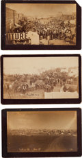 "Photography:Cabinet Photos, Three Guthrie, Oklahoma Land Run Albumen Photographs: ""Long BranchEjectment,"" ""Guthrie,"" and ""Guthrie, Ok.""... (Total: 3 Items)"
