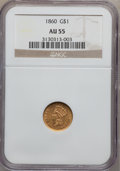 Gold Dollars: , 1860 G$1 AU55 NGC. NGC Census: (4/138). PCGS Population (9/111). Mintage: 36,668. Numismedia Wsl. Price for problem free NG...