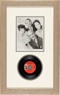 Music Memorabilia:Recordings, Staple Singers Autographed Photo with Stax 45. ...