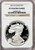 Modern Bullion Coins, 2010-W $1 1 oz Silver Eagle PR70 Ultra Cameo NGC. NGC Census:(5427). PCGS Population (1316). Numismedia Wsl. Price for pr...