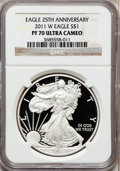 Modern Bullion Coins, 2011-W $1 1oz Silver American Eagle 25th Anniversary, PR70 UltraCameo NGC. NGC Census: (5336). PCGS Population (2218). Nu...