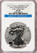 Modern Bullion Coins, 2011-P $1 25th Anniversary Reverse Proof Silver Eagle, EarlyReleases PR70 NGC. NGC Census: (16858). PCGS Population (8192)...