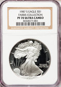 Modern Bullion Coins: , 1987-S $1 Silver Eagle PR70 Ultra Cameo NGC. Ex: Farris Collection.NGC Census: (419). PCGS Population (214). Mintage: 904,...