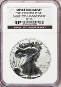 Modern Bullion Coins, 2006-P $1 Reverse Proof Silver Eagle, 20th Anniversary PR70 NGC.NGC Census: (9991). PCGS Population (1798)....