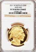 Modern Bullion Coins, 2011-W $50 One-Ounce Gold Buffalo PR70 Ultra Cameo NGC. .9999 Fine.NGC Census: (1547). PCGS Population (425). ...