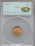 Gold Dollars, 1889 G$1 MS60 PCGS. Gold CAC. PCGS Population (20/2246). NGCCensus: (9/1766). Mintage: 29,000. Numismedia Wsl. Price for p...