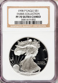 Modern Bullion Coins: , 1998-P $1 Silver Eagle PR70 Ultra Cameo NGC. Ex: Farris Collection.NGC Census: (1027). PCGS Population (681). Numismedia ...