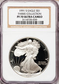 Modern Bullion Coins: , 1991-S $1 Silver Eagle PR70 Ultra Cameo NGC. Ex: Farris Collection.NGC Census: (503). PCGS Population (292). Mintage: 511,...