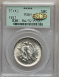 Commemorative Silver, 1934 50C Texas MS64 PCGS. Gold CAC. PCGS Population (1403/1646).NGC Census: (678/1330). Mintage: 61,463. Numismedia Wsl. P...