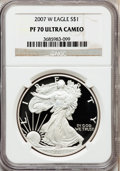 Modern Bullion Coins, 2007-W $1 1oz Silver Eagle PR70 Ultra Cameo NGC. NGC Census:(7064). PCGS Population (1609). Numismedia Wsl. Price for pro...