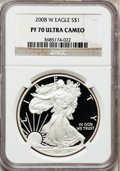 Modern Bullion Coins, 2008-W $1 Silver Eagle PR70 Ultra Cameo NGC. NGC Census: (11968).PCGS Population (1041). Numismedia Wsl. Price for proble...