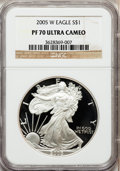 Modern Bullion Coins, 2005-W $1 1 oz Silver Eagle PR70 Ultra Cameo NGC. NGC Census:(11021). PCGS Population (1396). Numismedia Wsl. Price for p...