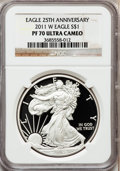 Modern Bullion Coins, 2011-W $1 Silver American Eagle PR70 Ultra Cameo NGC. NGC Census:(5336). PCGS Population (2218). Numismedia Wsl. Price fo...