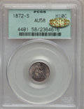 Seated Half Dimes, 1872-S H10C Mintmark Below Bow AU58 PCGS. Gold CAC. PCGS Population(56/529). NGC Census: (63/627). Mintage: 837,000. Numis...
